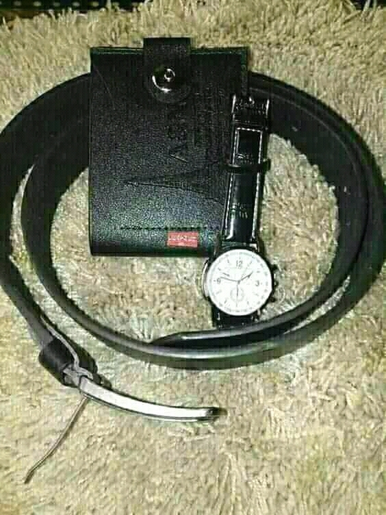 Belt, wallet, watch