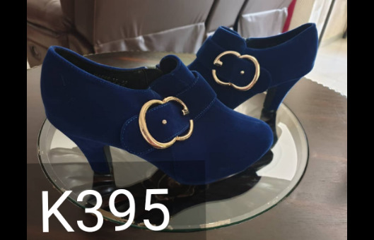 Ladies blue suede ankle boots.
